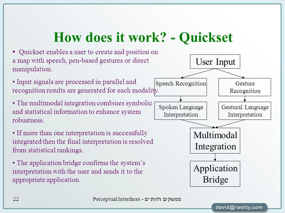 ממשקים חזותיים - Perceptual Interfaces22 How does it work.