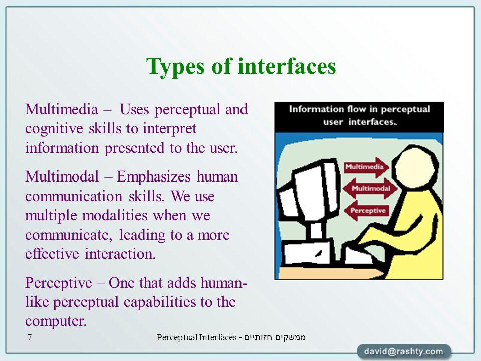 ממשקים חזותיים - Perceptual Interfaces7 Types of interfaces Multimedia – Uses perceptual and cognitive skills to interpret information presented to the user.