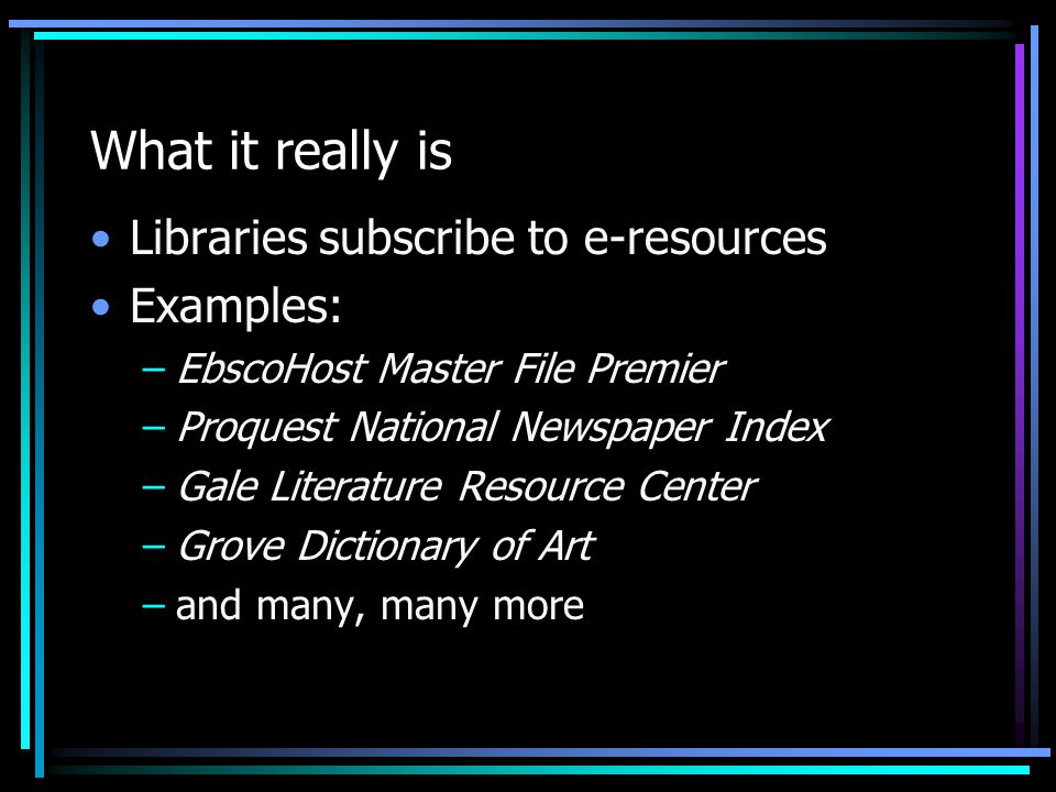 How to get somebody else to do it Library Automation Vendor Advantages For some libraries this is their only user database Integration with other services provided to users Easy user interface (or interface user is familiar with)