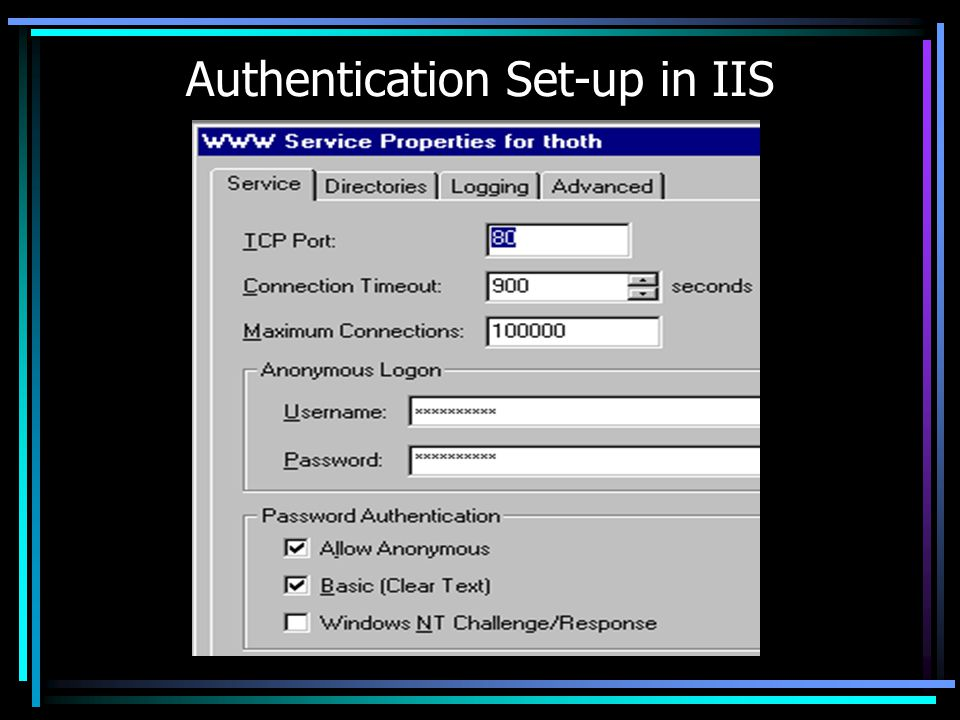 Authentication Set-up in IIS