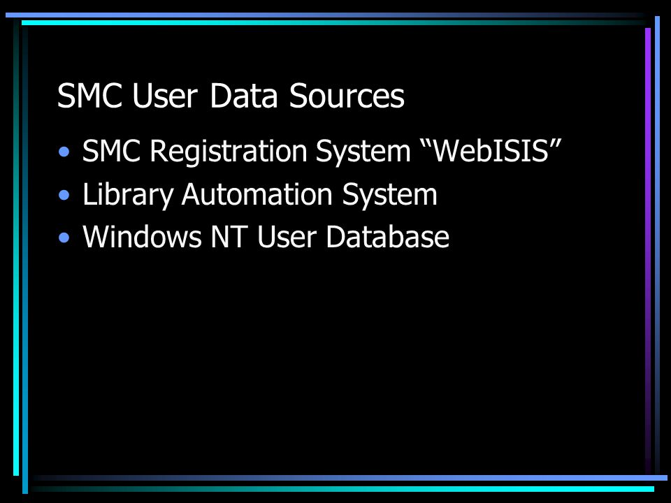SMC User Data Sources SMC Registration System WebISIS Library Automation System Windows NT User Database