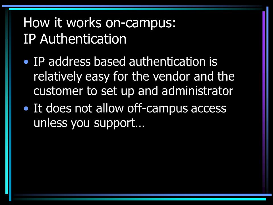 Authenticate against what.