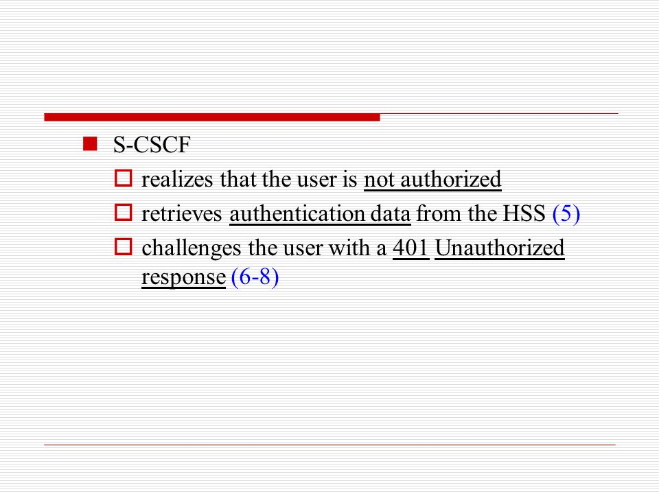 S-CSCF  realizes that the user is not authorized  retrieves authentication data from the HSS (5)  challenges the user with a 401 Unauthorized respo