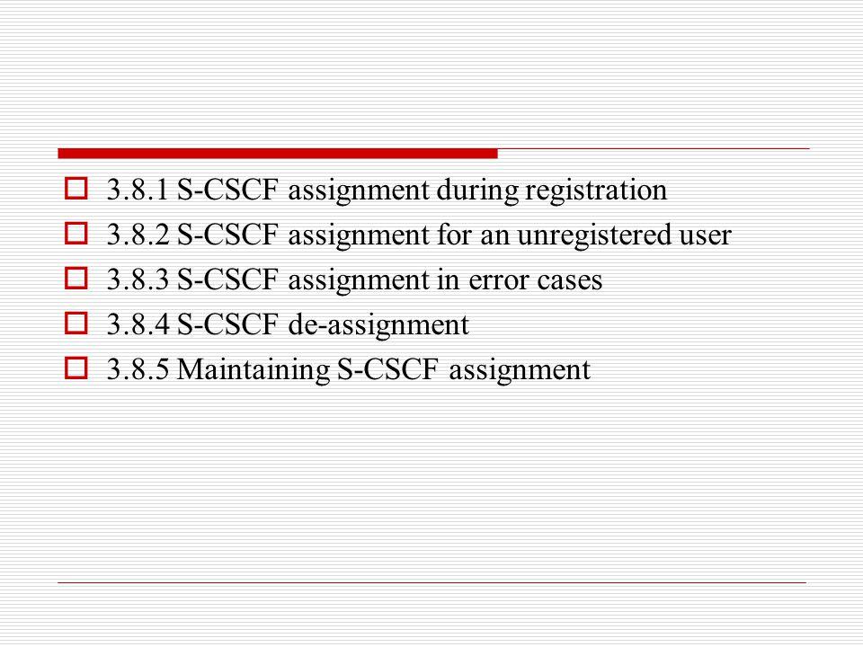  3.8.1 S-CSCF assignment during registration  3.8.2 S-CSCF assignment for an unregistered user  3.8.3 S-CSCF assignment in error cases  3.8.4 S-CS