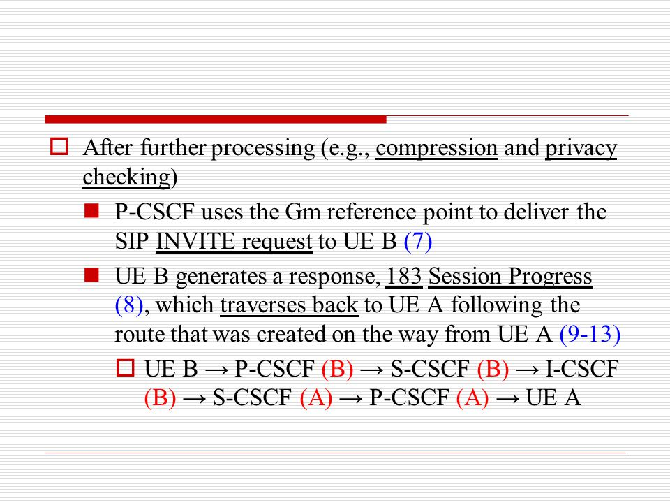  After further processing (e.g., compression and privacy checking) P-CSCF uses the Gm reference point to deliver the SIP INVITE request to UE B (7) U