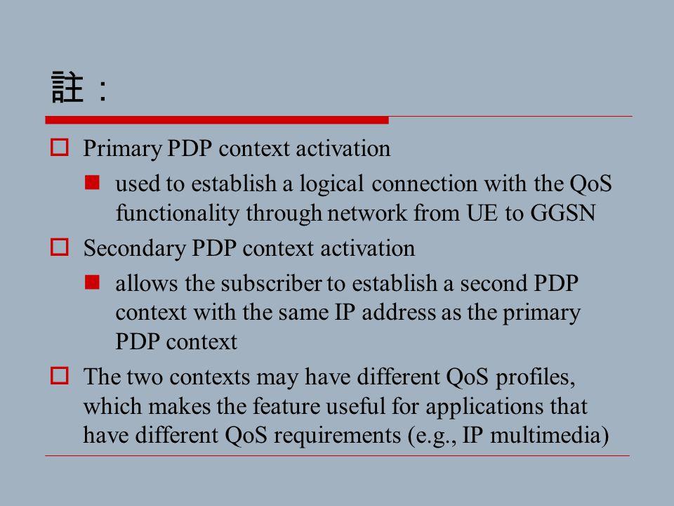 註:  Primary PDP context activation used to establish a logical connection with the QoS functionality through network from UE to GGSN  Secondary PDP
