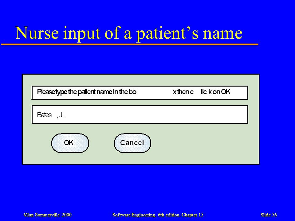 ©Ian Sommerville 2000 Software Engineering, 6th edition. Chapter 15Slide 56 Nurse input of a patient's name