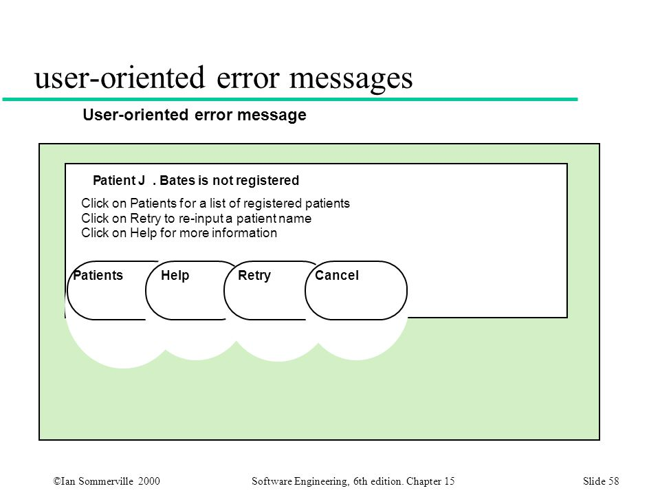 ©Ian Sommerville 2000 Software Engineering, 6th edition. Chapter 15Slide 58 user-oriented error messages Patient J. Bates is not registered Click on P
