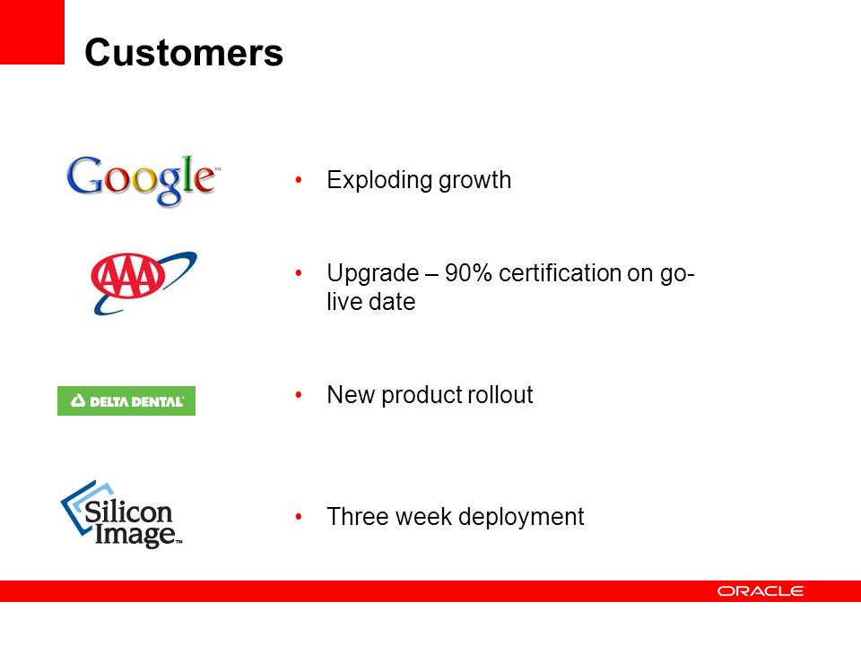 Customers Exploding growth Upgrade – 90% certification on go- live date New product rollout Three week deployment