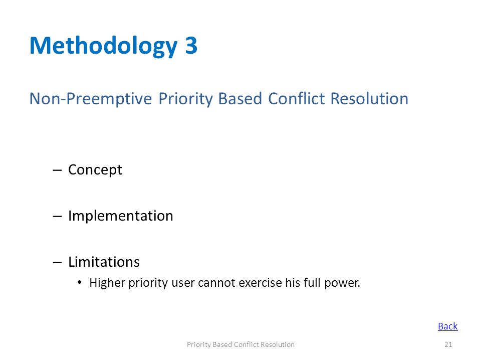 Methodology 3 Non-Preemptive Priority Based Conflict Resolution – Concept – Implementation – Limitations Higher priority user cannot exercise his full
