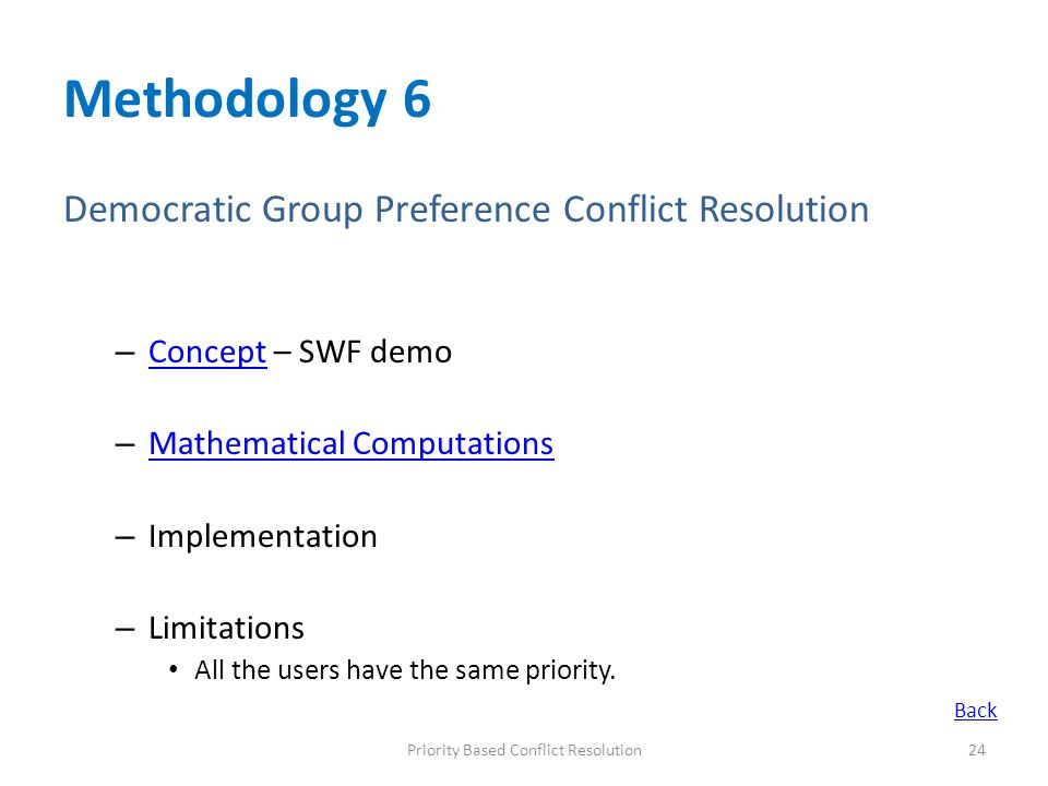 Methodology 6 Democratic Group Preference Conflict Resolution – Concept – SWF demo Concept – Mathematical Computations Mathematical Computations – Imp