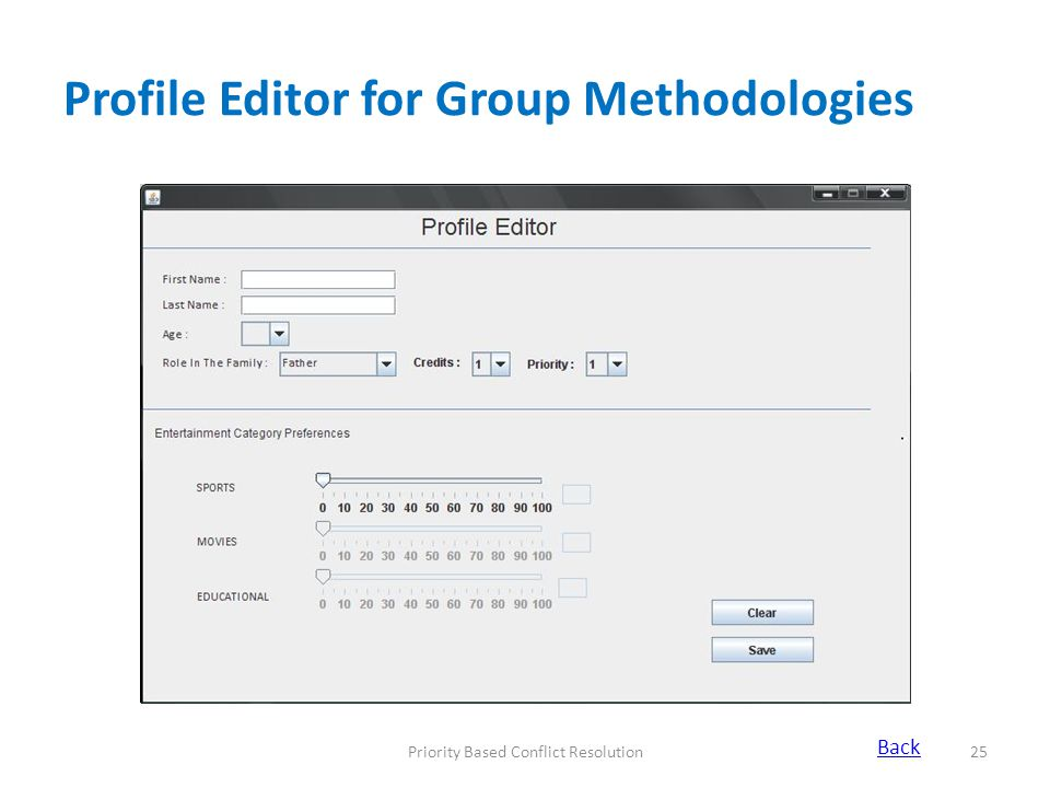 Priority Based Conflict Resolution25 Profile Editor for Group Methodologies Back