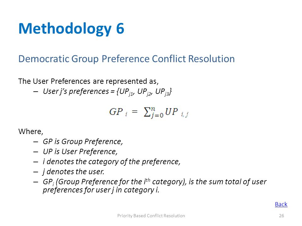 Methodology 6 Democratic Group Preference Conflict Resolution The User Preferences are represented as, – User j's preferences = {UP j1, UP j2, UP j3 } Where, – GP is Group Preference, – UP is User Preference, – i denotes the category of the preference, – j denotes the user.