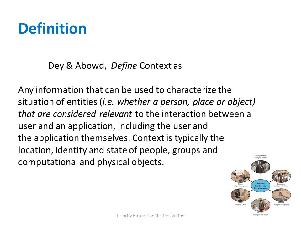 Definition Dey & Abowd, Define Context as Any information that can be used to characterize the situation of entities (i.e. whether a person, place or
