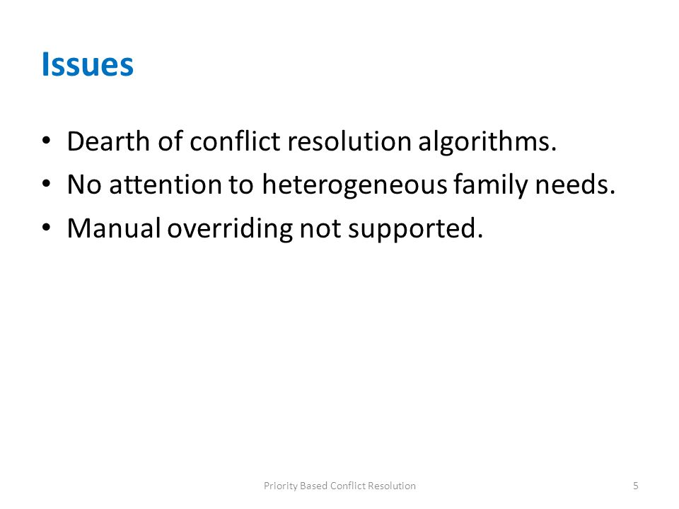 Issues Dearth of conflict resolution algorithms. No attention to heterogeneous family needs. Manual overriding not supported. 5Priority Based Conflict