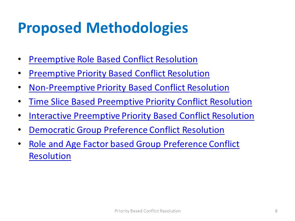 Proposed Methodologies Preemptive Role Based Conflict Resolution Preemptive Priority Based Conflict Resolution Non-Preemptive Priority Based Conflict Resolution Time Slice Based Preemptive Priority Conflict Resolution Interactive Preemptive Priority Based Conflict Resolution Democratic Group Preference Conflict Resolution Role and Age Factor based Group Preference Conflict Resolution Role and Age Factor based Group Preference Conflict Resolution 8Priority Based Conflict Resolution