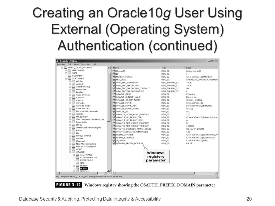 Database Security & Auditing: Protecting Data Integrity & Accessibility20 Creating an Oracle10g User Using External (Operating System) Authentication (continued)