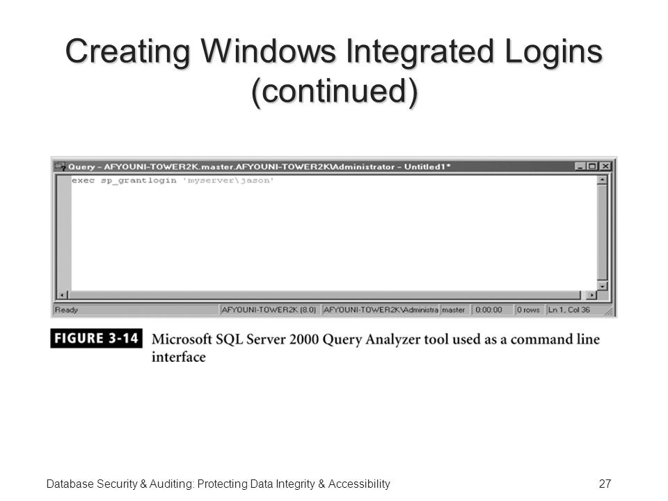 Database Security & Auditing: Protecting Data Integrity & Accessibility27 Creating Windows Integrated Logins (continued)