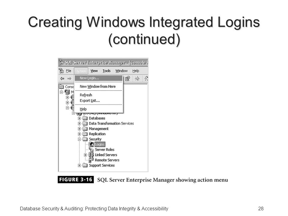 Database Security & Auditing: Protecting Data Integrity & Accessibility28 Creating Windows Integrated Logins (continued)