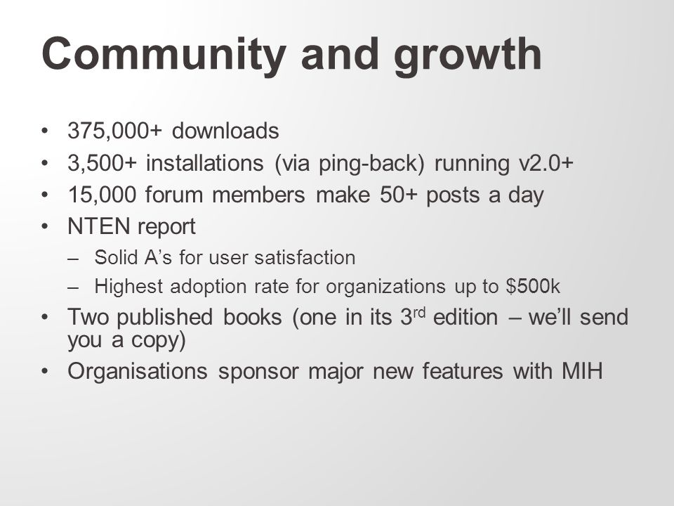 Community and growth 375,000+ downloads 3,500+ installations (via ping-back) running v2.0+ 15,000 forum members make 50+ posts a day NTEN report –Solid A's for user satisfaction –Highest adoption rate for organizations up to $500k Two published books (one in its 3 rd edition – we'll send you a copy) Organisations sponsor major new features with MIH