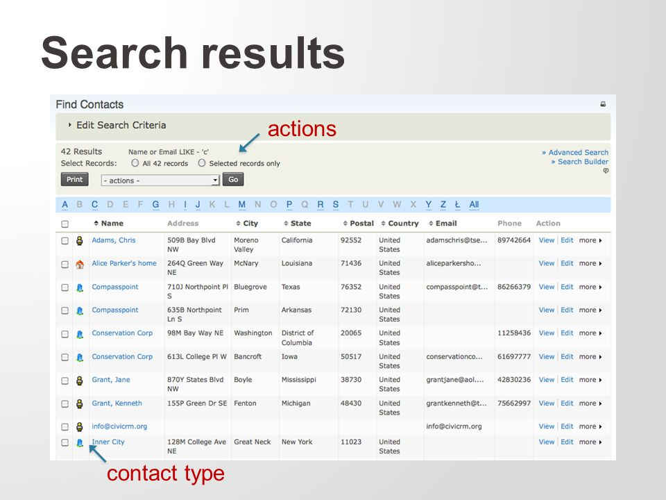 Search results actions contact type