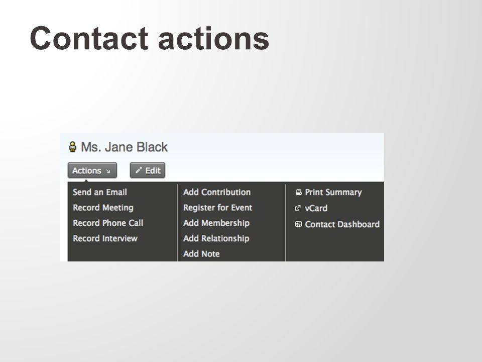 Contact actions