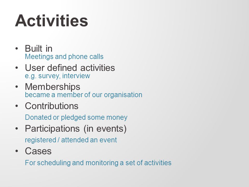 Activities Built in Meetings and phone calls User defined activities e.g.