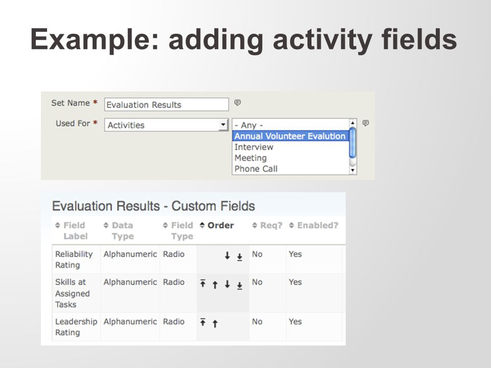 Example: adding activity fields