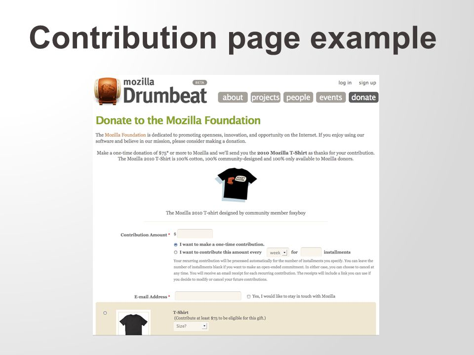 Contribution page example