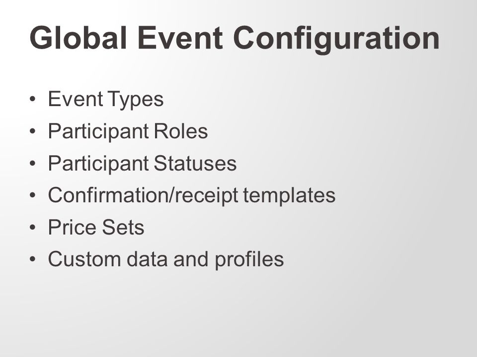 Global Event Configuration Event Types Participant Roles Participant Statuses Confirmation/receipt templates Price Sets Custom data and profiles