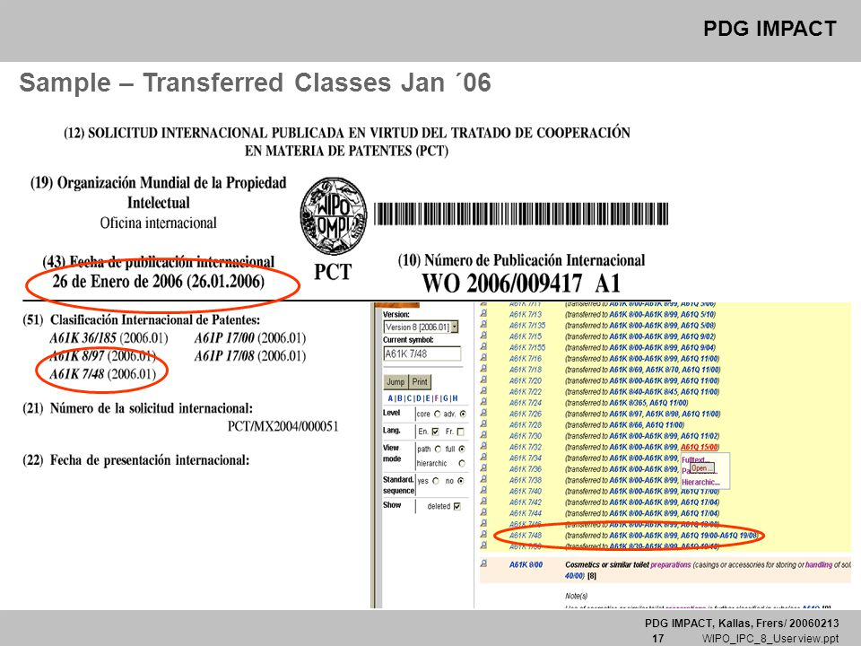 PDG IMPACT, Kallas, Frers/ 20060213 17 WIPO_IPC_8_User view.ppt PDG IMPACT Sample – Transferred Classes Jan ´06