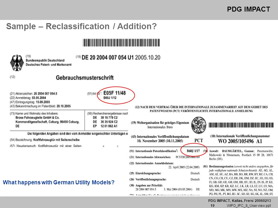PDG IMPACT, Kallas, Frers/ 20060213 19 WIPO_IPC_8_User view.ppt PDG IMPACT Sample – Reclassification / Addition? What happens with German Utility Mode