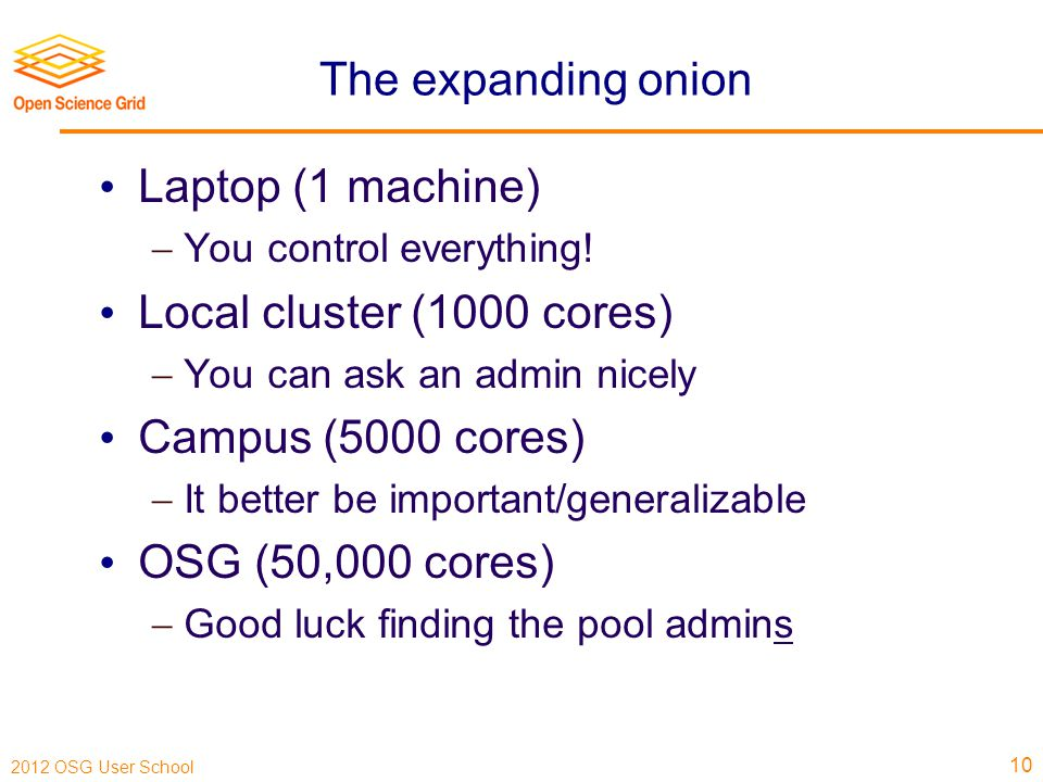 2012 OSG User School The expanding onion Laptop (1 machine)  You control everything.