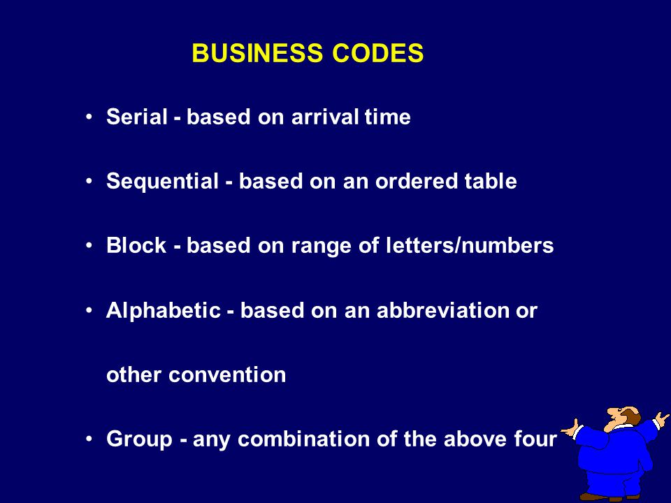 SERIAL BUSINESS CODES BANK 1 2 3 4 Based on Arrival Time - first come, first serve