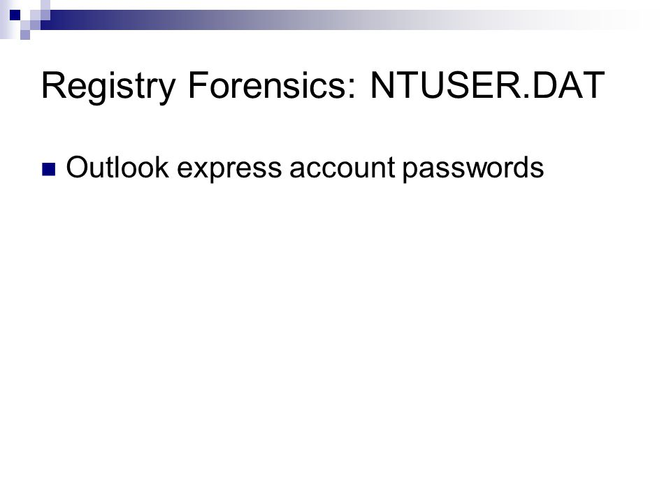 Registry Forensics: NTUSER.DAT Outlook express account passwords