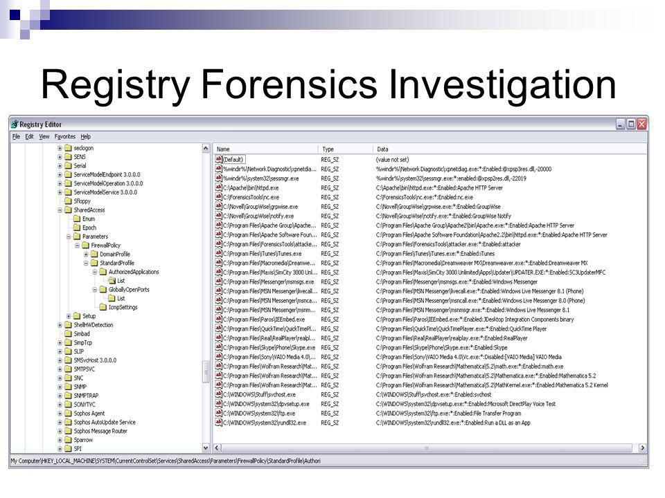 Registry Forensics Investigation
