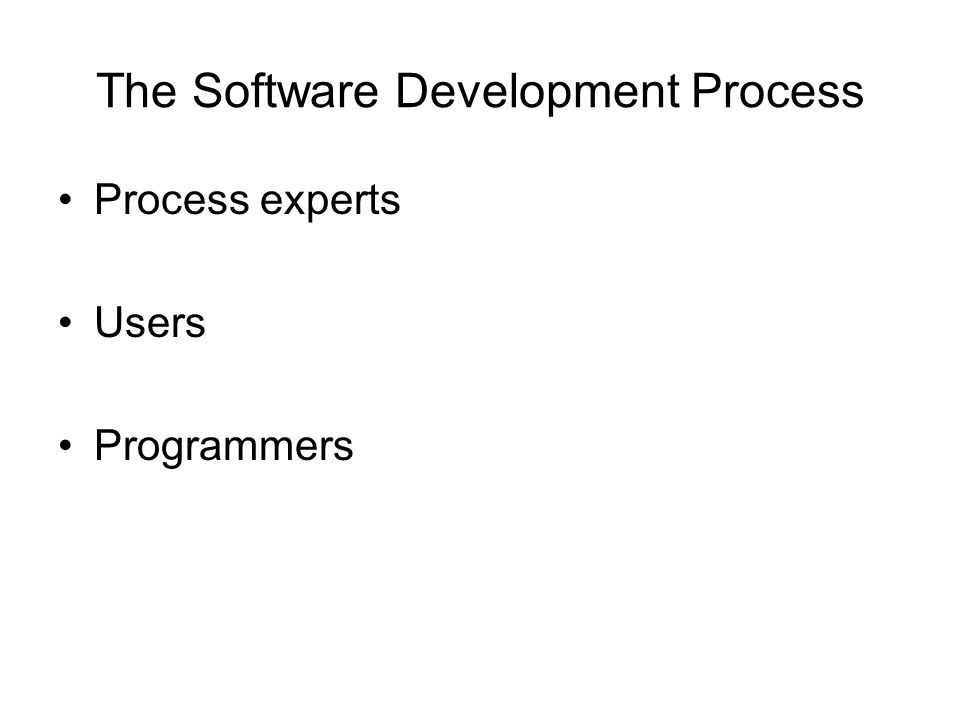 The Software Development Process Process experts Users Programmers
