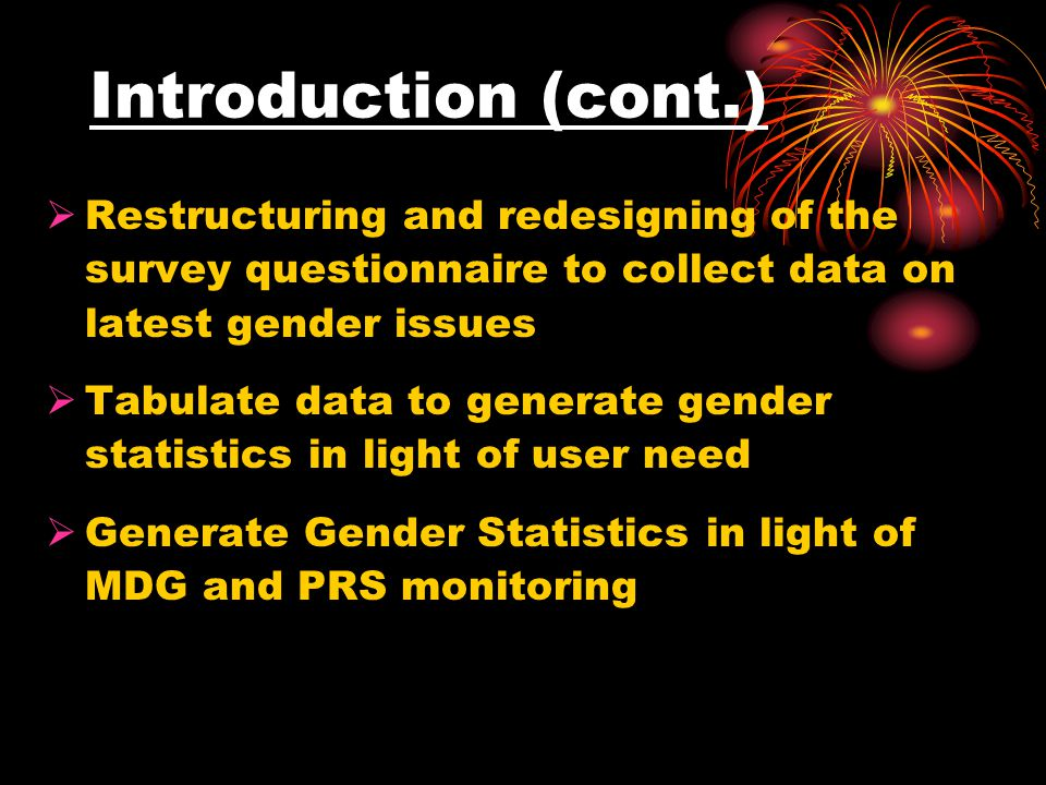 Bangladesh experience on User Producer Group  No permanent group  Formed on occasional basis  Established to compile data on gender statistics from secondary sources  Committee was formed under the auspices of the Ministry of Women and Children Affairs  Committee was formed twice one in 1997 and another in 2002
