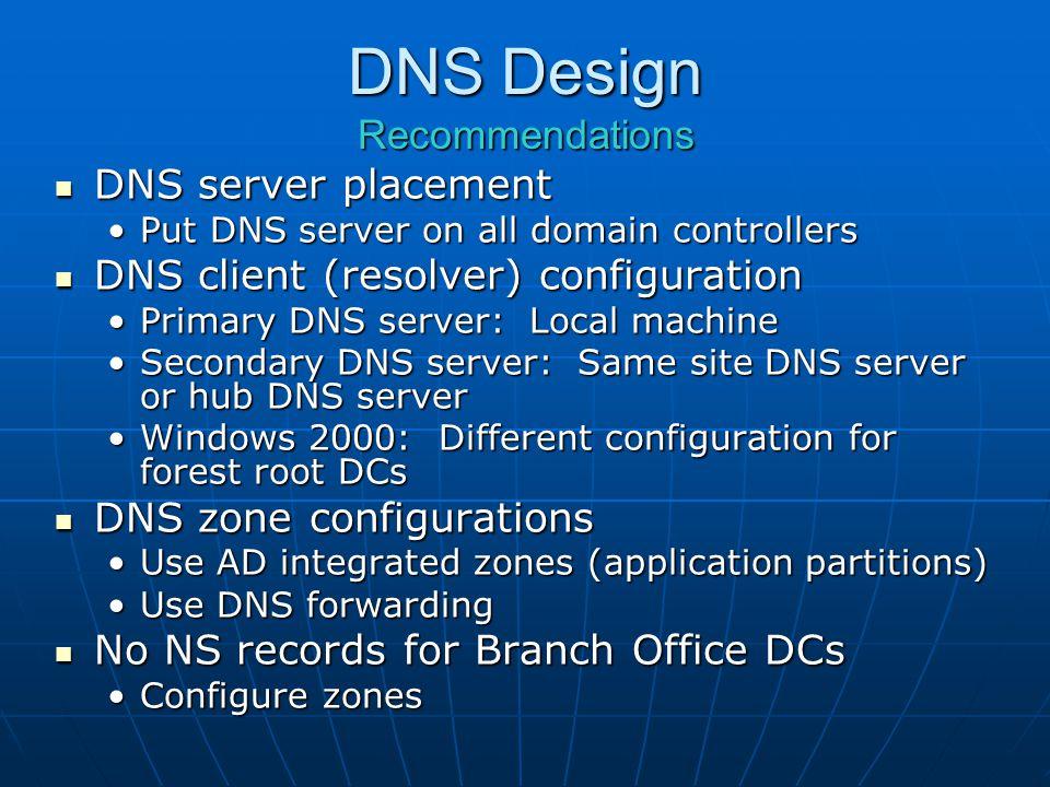 DNS Design Recommendations DNS server placement DNS server placement Put DNS server on all domain controllersPut DNS server on all domain controllers