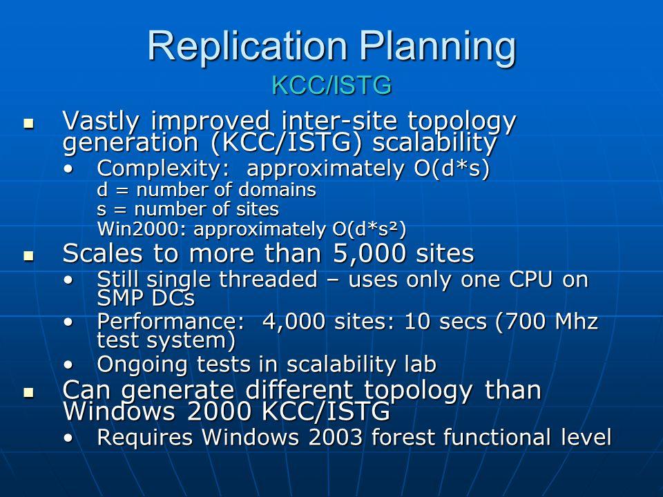 Replication Planning KCC/ISTG Vastly improved inter-site topology generation (KCC/ISTG) scalability Vastly improved inter-site topology generation (KC