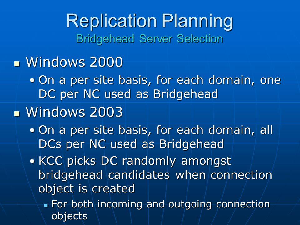Replication Planning Bridgehead Server Selection Windows 2000 Windows 2000 On a per site basis, for each domain, one DC per NC used as BridgeheadOn a