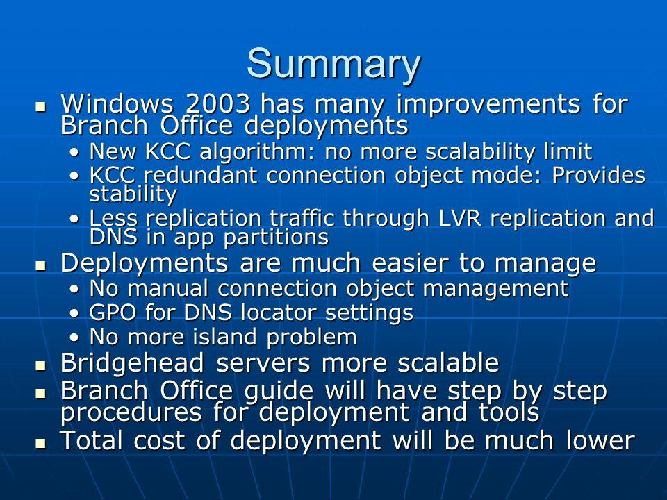 Summary Windows 2003 has many improvements for Branch Office deployments Windows 2003 has many improvements for Branch Office deployments New KCC algo