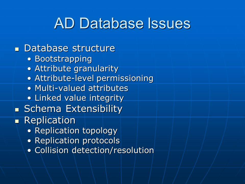AD Database Issues Database structure Database structure BootstrappingBootstrapping Attribute granularityAttribute granularity Attribute-level permiss