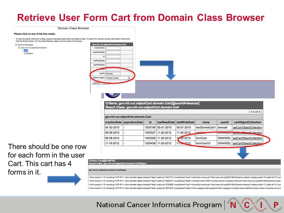 Retrieve User Form Cart from Domain Class Browser