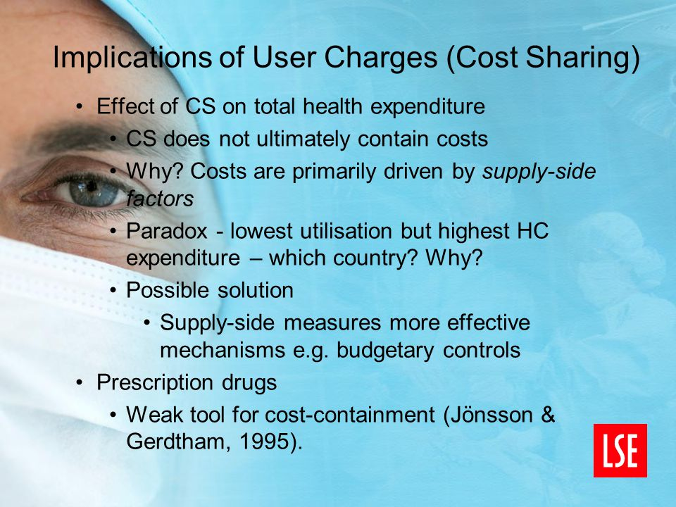 Implications of User Charges (Cost Sharing) Effect of CS on total health expenditure CS does not ultimately contain costs Why.