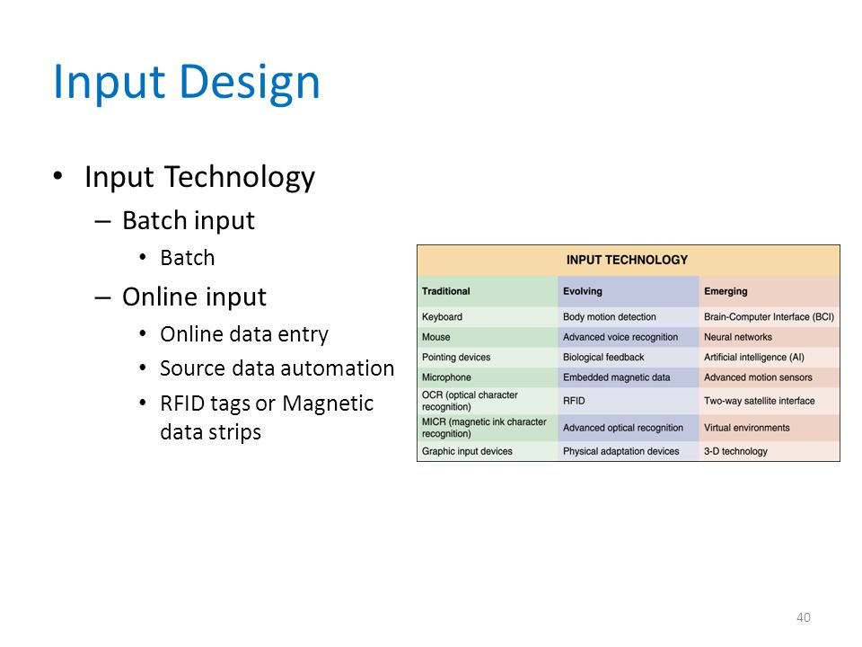 Input Design Input Technology – Batch input Batch – Online input Online data entry Source data automation RFID tags or Magnetic data strips 40