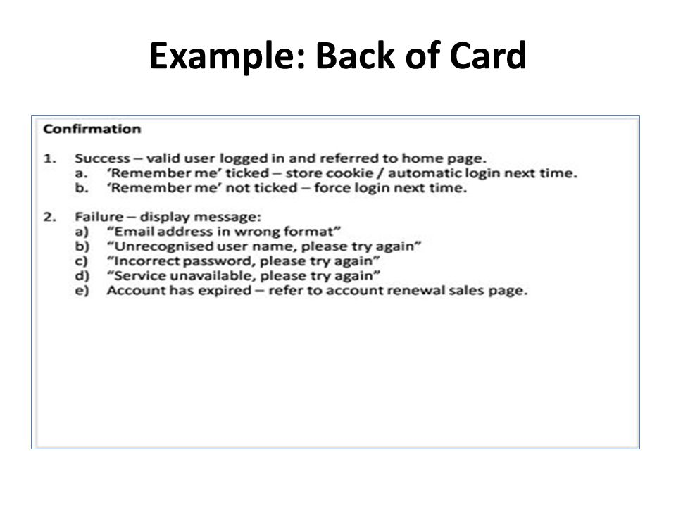 Example: Back of Card