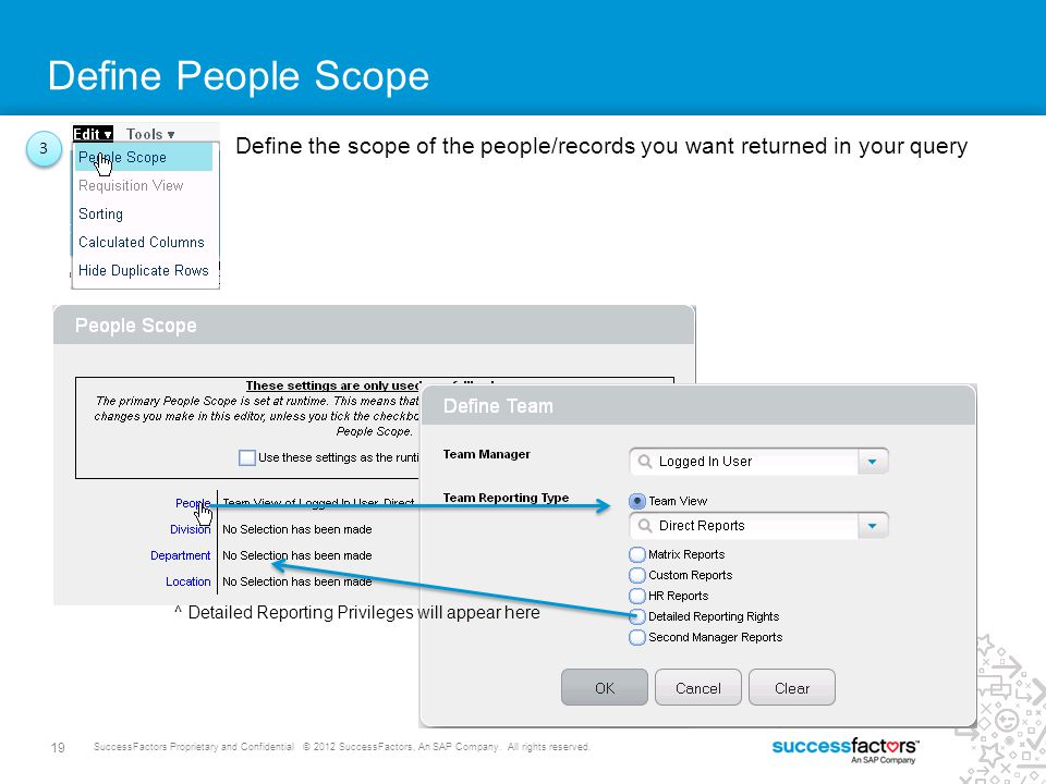 19 SuccessFactors Proprietary and Confidential © 2012 SuccessFactors, An SAP Company. All rights reserved. Define People Scope 3 3 Define the scope of