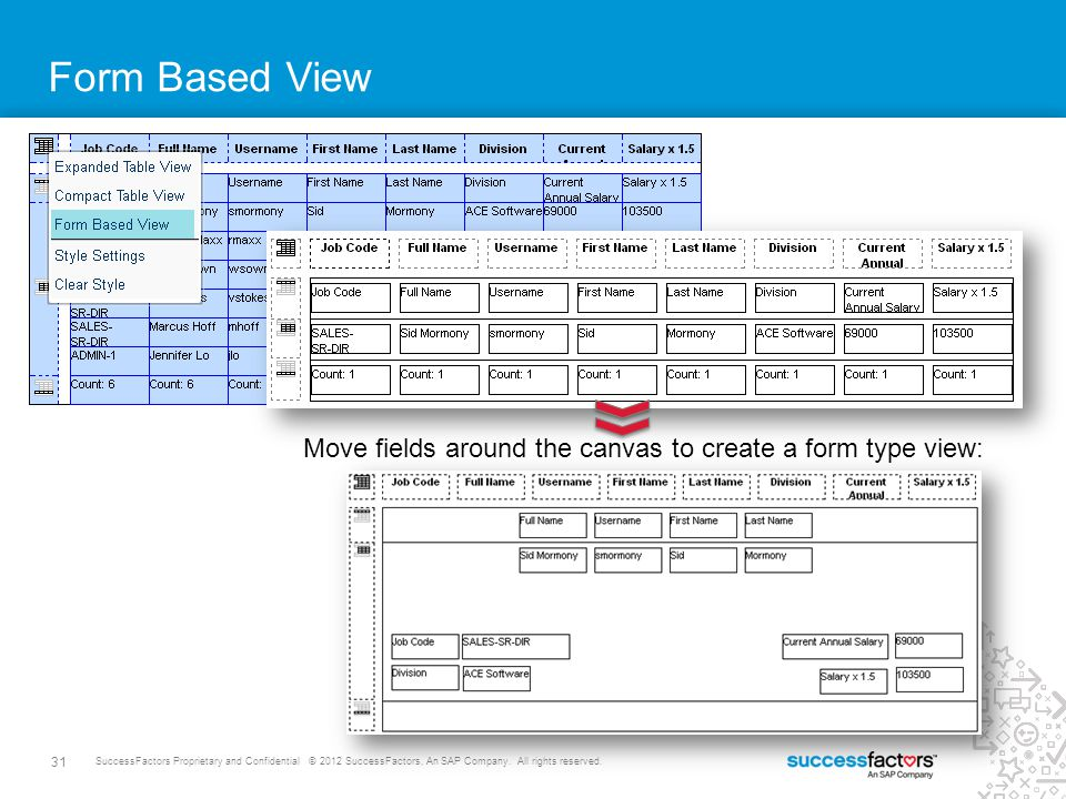 31 SuccessFactors Proprietary and Confidential © 2012 SuccessFactors, An SAP Company. All rights reserved. Form Based View Move fields around the canv