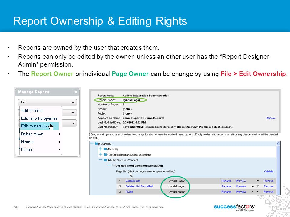 60 SuccessFactors Proprietary and Confidential © 2012 SuccessFactors, An SAP Company. All rights reserved. Report Ownership & Editing Rights Reports a